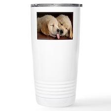 2 Golden Retriever Puppies on C Travel Mug
