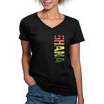 Ghana Women's V-Neck Dark T-Shirt