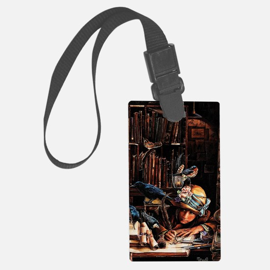 Vintage Chick Girl With Quill Large Luggage Tag