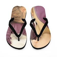 Young mother breast feeding newborn bab Flip Flops