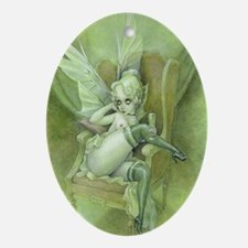 Vintage Chick Sexy green Fairy Oval Ornament
