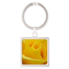 Perfect yellow rose Square Keychain