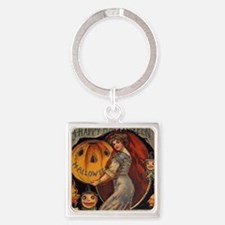 Vintage Halloween Card sq Square Keychain