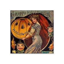 "Vintage Halloween Card sq Square Sticker 3"" x 3"""