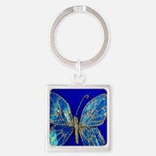 Glitter Butterfly Square Keychain