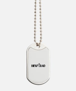 New Dad With Baby's Footprint Dog Tags