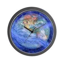 Blue fiber optic streaks around globe Wall Clock