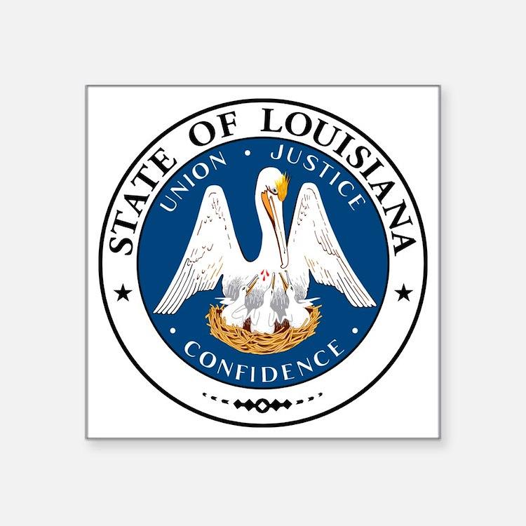 """Louisiana State Seal Square Sticker 3"""" x 3"""""""
