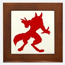 Red Werewolf Silhouette Framed Tile