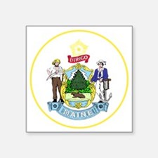 "Maine State Seal Square Sticker 3"" x 3"""
