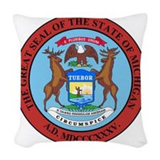 Michigan State Seal Woven Throw Pillow