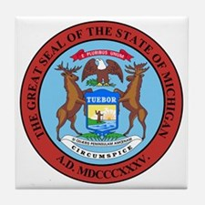 Michigan State Seal Tile Coaster
