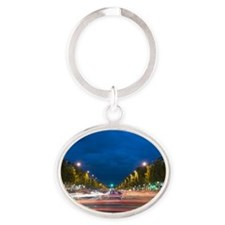 Beautiful night view of Champs elyse Oval Keychain
