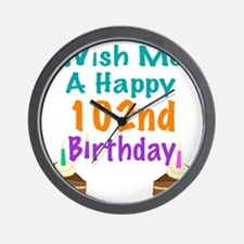 Wish me a happy 102nd Birthday Wall Clock
