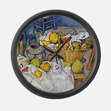 Paul Cezanne Still Life with Frui Large Wall Clock