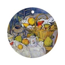 Paul Cezanne Still Life with Fruit  Round Ornament