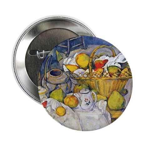 "Paul Cezanne Still Life with Fruit Ba 2.25"" Button"