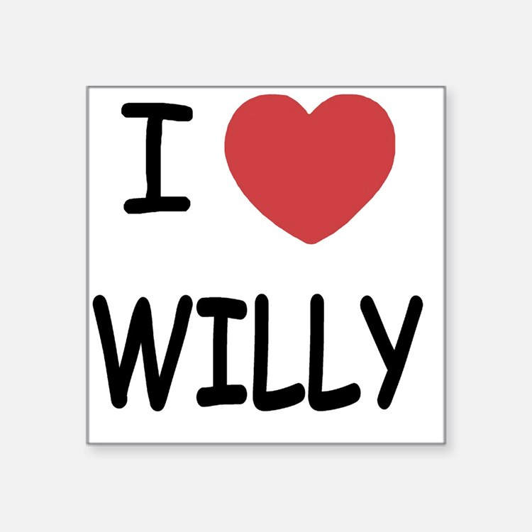 "I heart WILLY Square Sticker 3"" x 3"""