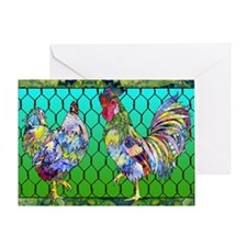 rooster  hen Greeting Card