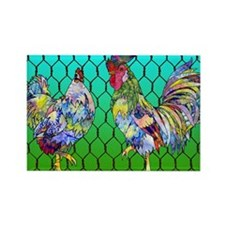 rooster  hen Rectangle Magnet