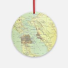 Vintage Map of San Francisco Califo Round Ornament