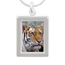 Majestic Tiger Silver Portrait Necklace