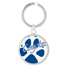 Paw dark blue Round Keychain