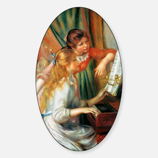 Renoir Girls At The Piano Sticker (Oval)