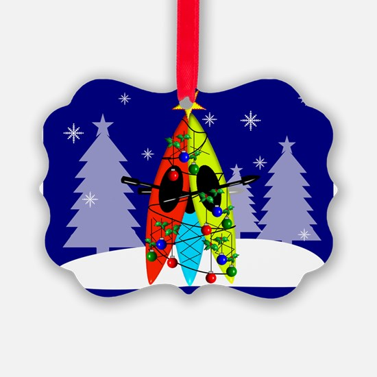 Kayaking Christmas Card Gails Ornament