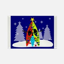 Kayaking Christmas Card Gails Rectangle Magnet