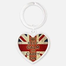 Vintage Keep Calm Heart Keychain