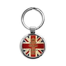 Vintage Keep Calm Round Keychain