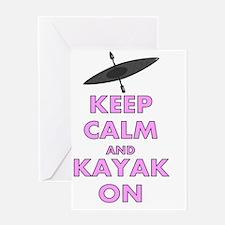 KEEP CALM AND KAYAK PINK Greeting Card