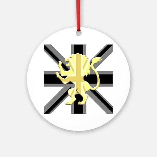 Black Union Jack Lion Rampant Round Ornament