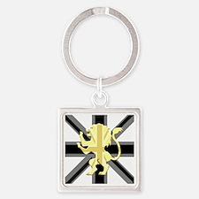 Black Union Jack Lion Rampant Square Keychain