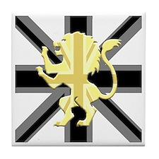 Black Union Jack Lion Rampant Tile Coaster