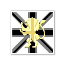 "Black Union Jack Lion Rampa Square Sticker 3"" x 3"""