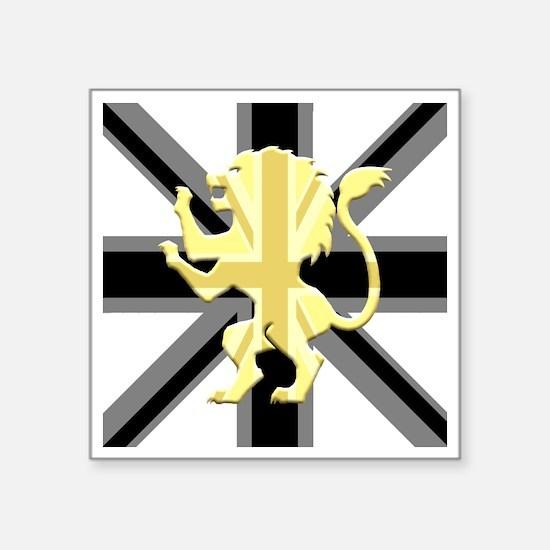 "Black Union Jack Lion Rampa Square Sticker 3"" x 3"""