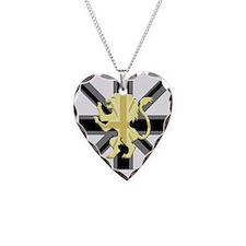 Black Union Jack Lion Rampant Necklace Heart Charm
