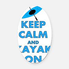 KEEP CALM AND KAYAK BLUE Oval Car Magnet