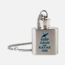 KEEP CALM AND KAYAK BLUE Flask Necklace