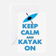 KEEP CALM AND KAYAK BLUE Greeting Card