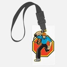 Electrician Worker Running Elect Luggage Tag