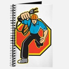 Electrician Worker Running Electrical Plug Journal
