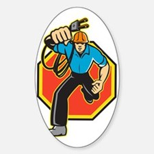 Electrician Worker Running Electric Decal