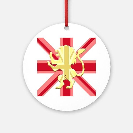 Red Union Jack Lion Rampant Round Ornament
