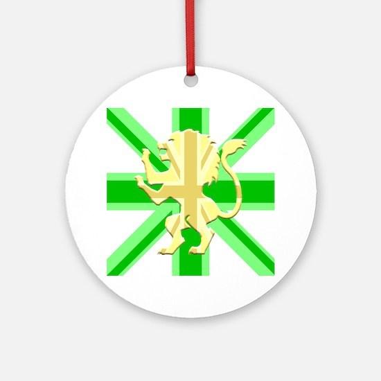 Green Union Jack Lion Rampant Round Ornament