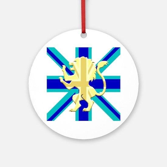 Blue Union Jack Lion Rampant Round Ornament