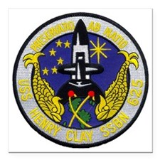 """uss henry clay patch tra Square Car Magnet 3"""" x 3"""""""