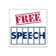 "Free Speech Square Sticker 3"" x 3"""